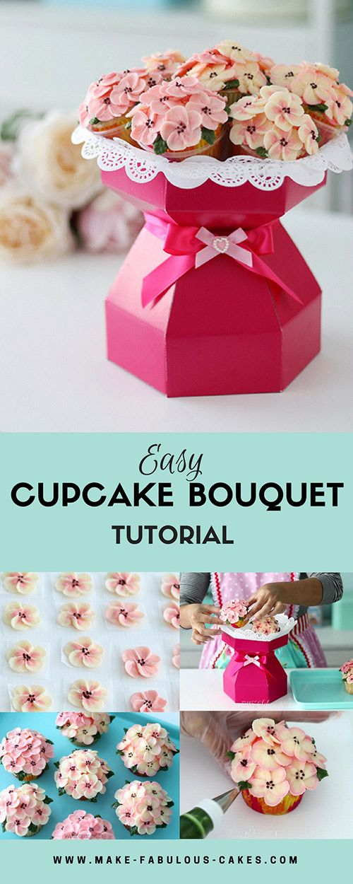 Easy Cupcake Bouquet Tutorial Easy Cake and Buttercream flowers