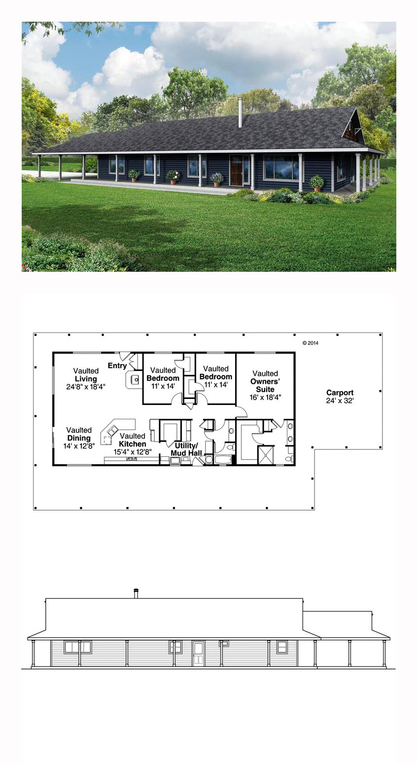 Ranch Style House Plan 60952 With 3 Bed 2 Bath 2 Car Garage Barn House Plans Metal House Plans Ranch Style House Plans