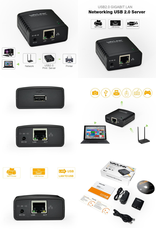 Visit to Buy] Wavlink USB 2 0 LRP Print Server Share a LAN Ethernet