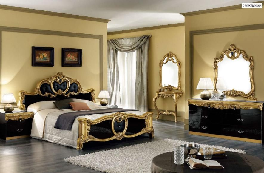 Modern Gold Black Italian Bedroom Furniture Grey Curtain White Rug
