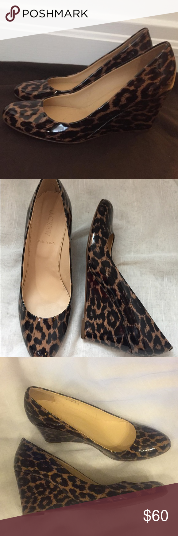 0b6fb566344 J. Crew patent leather leopard Martina wedges These shoes are ...