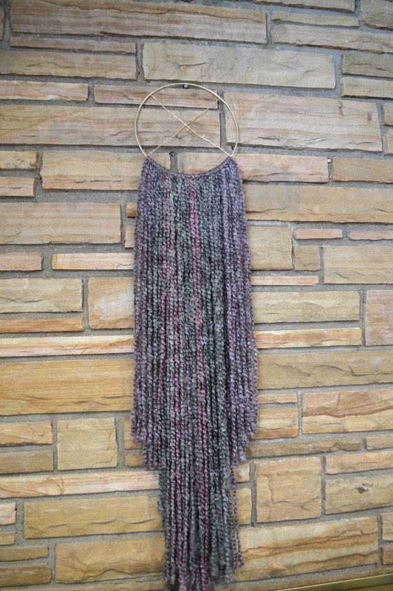 Sultry Boho Chic Purple & Gray Mix Fiber Wall by AstralRiles. boho chic / shabby chic fiber wall hanging.   DIY fiber wall hangings on http://www.astralriles.com  #macrame #wovenart #vintagemodern #walldecor #fiberwallhangings #hoopart #bohochic #bohemian #southwesterndecor #DIY  #handmade