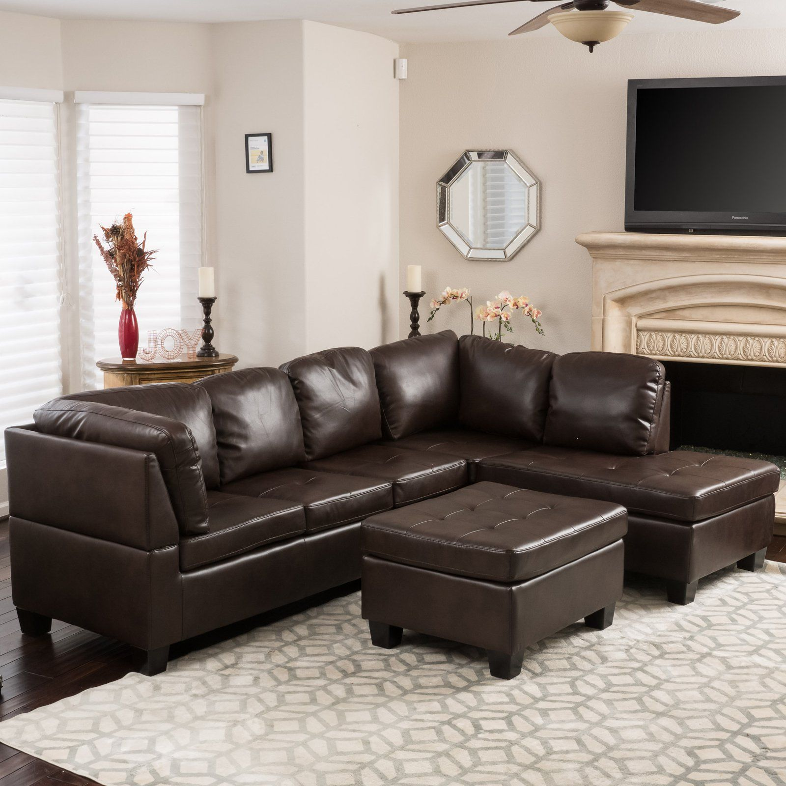 2293 Best Images About Leather Sofas And Living Room: Evan 3 Piece Leather Sectional Sofa