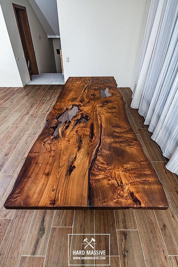 Modern Wooden Dining Table Made Of Solid Wood Ash With A Live Edge
