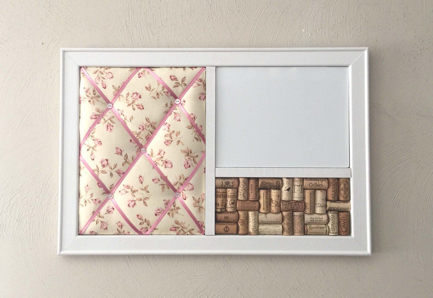 Pink Cottage Rose Floral French Memo Board, Magnetic Whiteboard Wipe ...