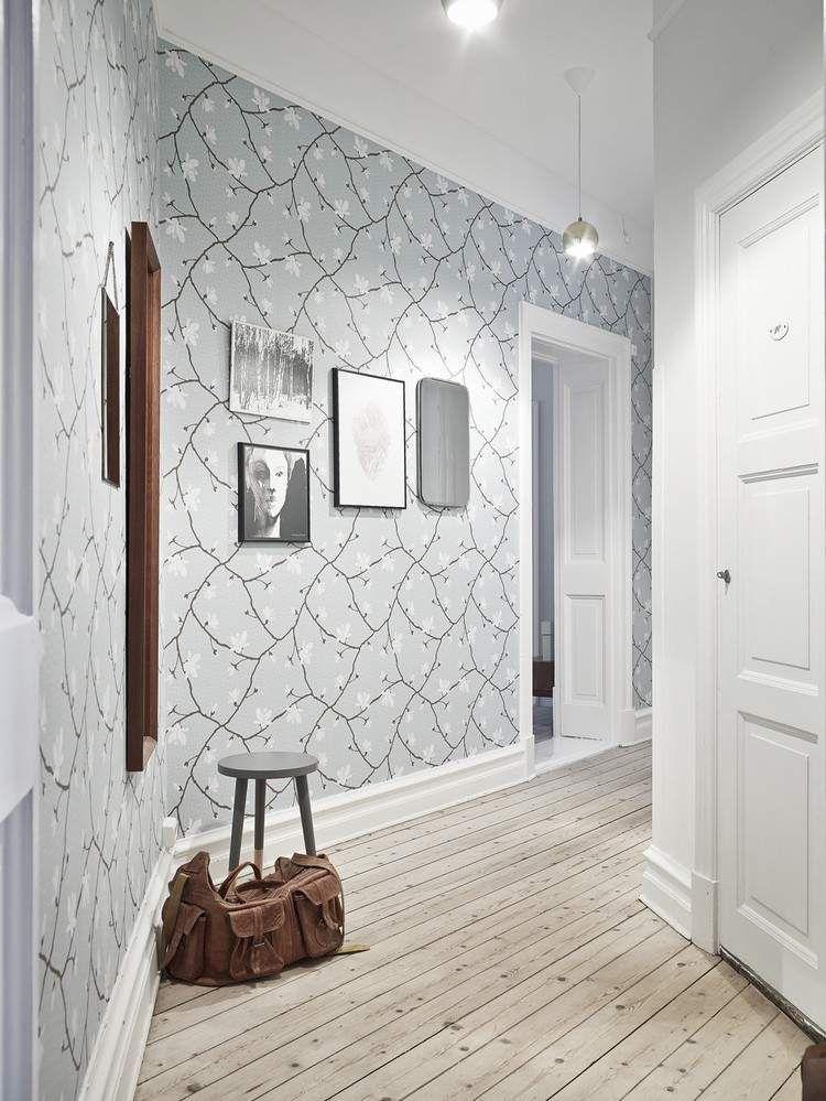 Sehr Gut florale Tapete in weiß und pastellgrün im Flur | Home Sweet Home  CW81