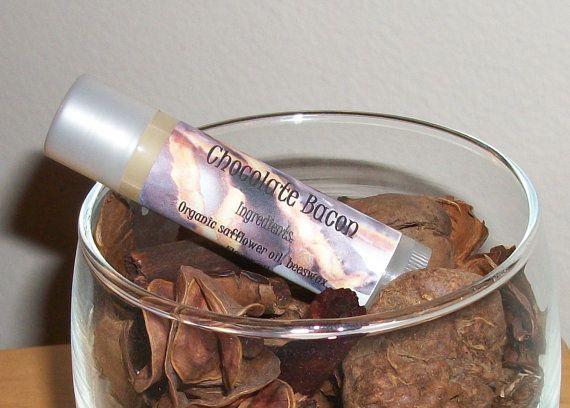 chocolate bacon flavored handmade lip balm by SweetNothingsBandB, $2.95