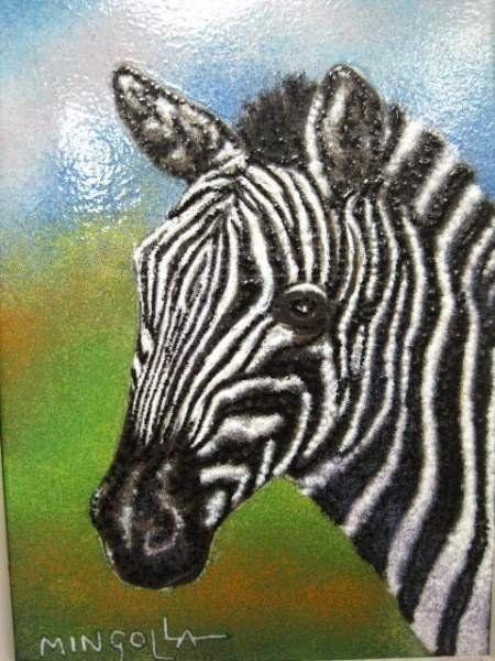 Dominic Mingola Original , Zebra Enamel Painting COA