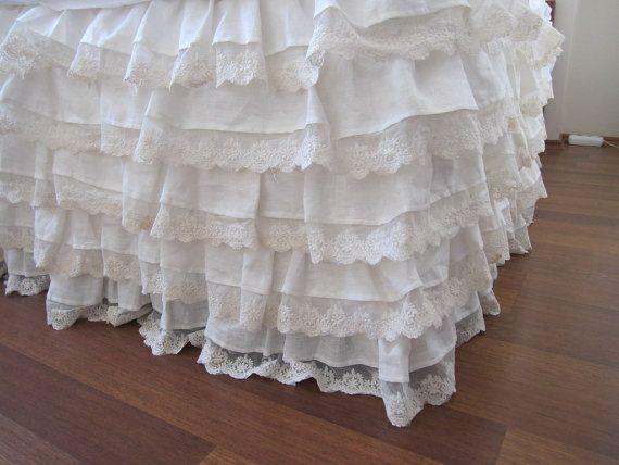 Linen Bed Skirt Ivory Lace Waterfall Ruffled Bedding Bedskirt Drop