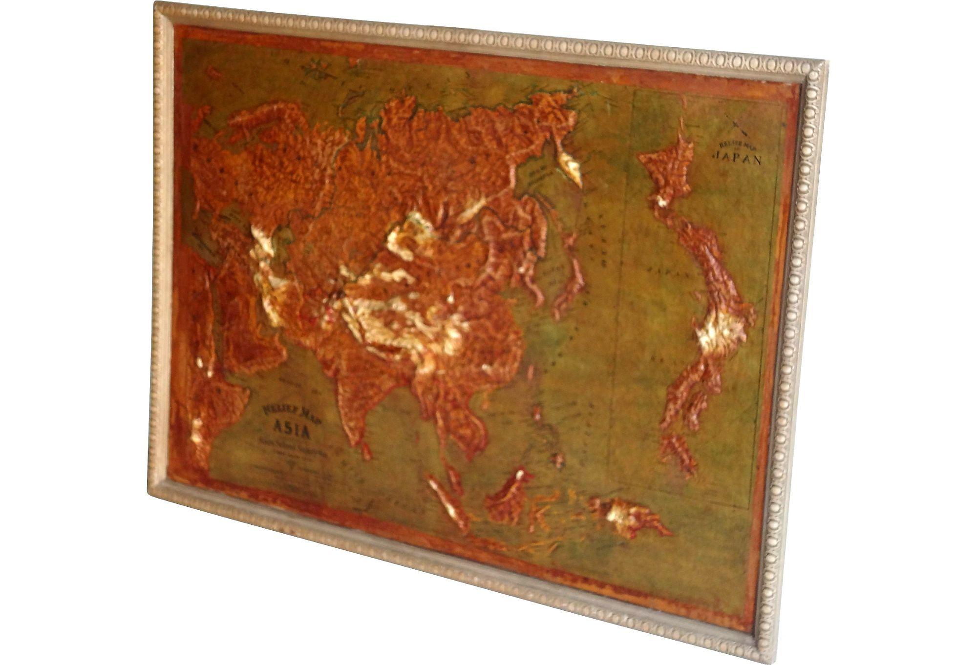 1907 Atlas School Supply South America Relief