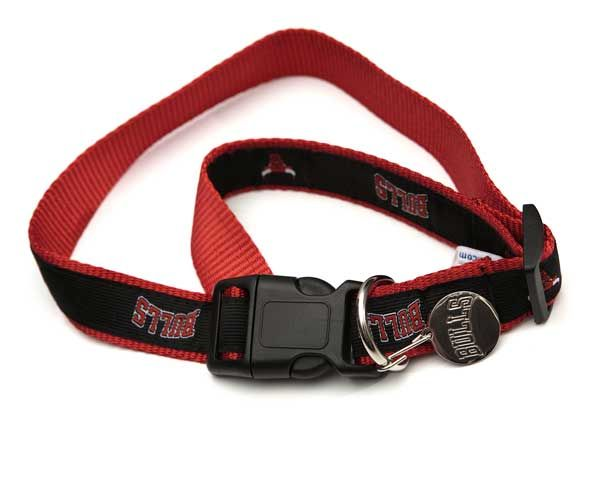 Chicago Bulls Black & Red Dog Collar with I.D. Tag