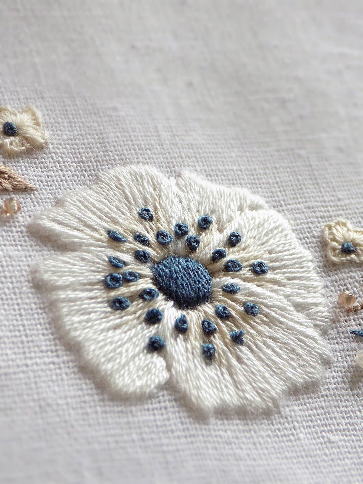White anemones embroidery embroidery ideas pinterest