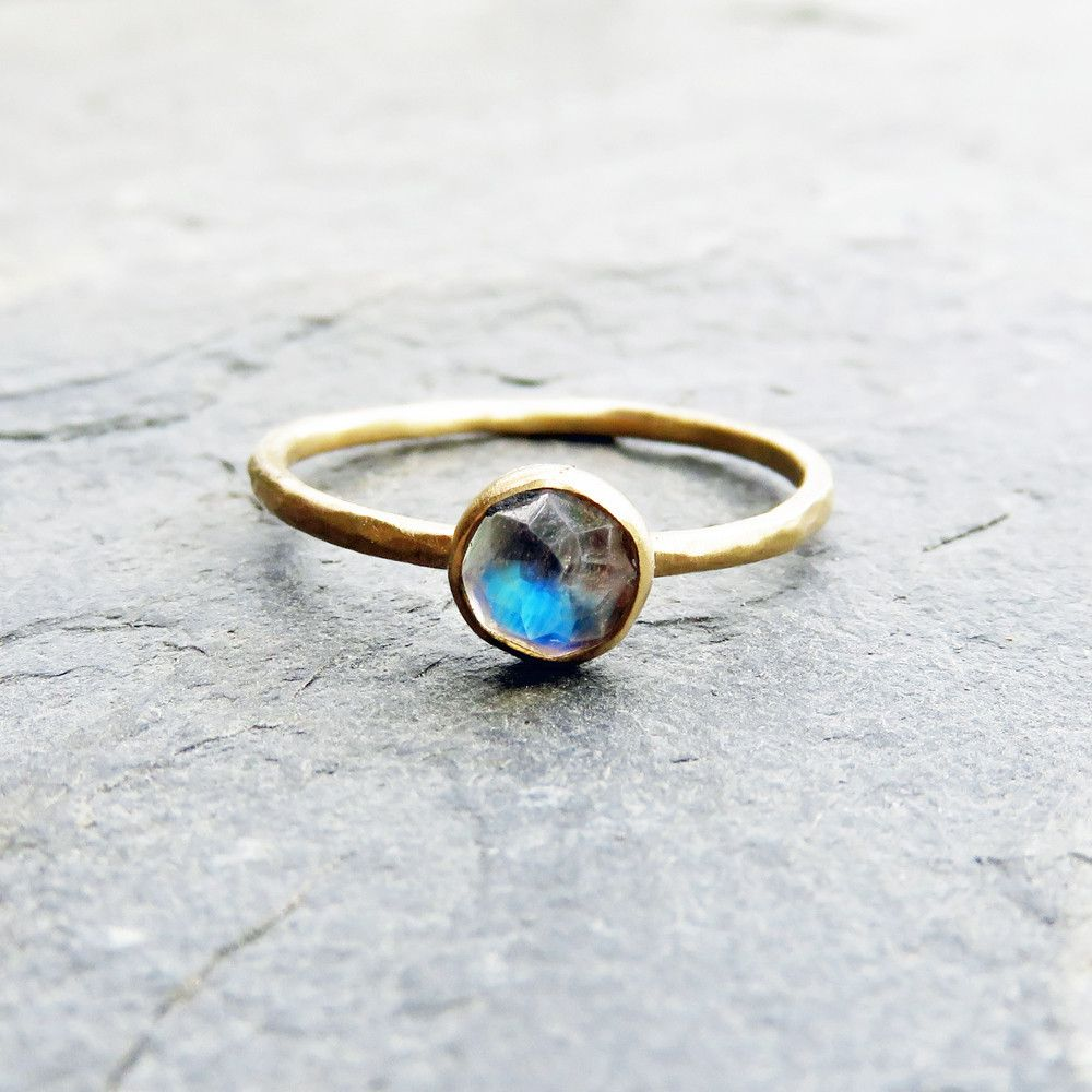K gold rose cut moonstone stacking ring jewellery pinterest
