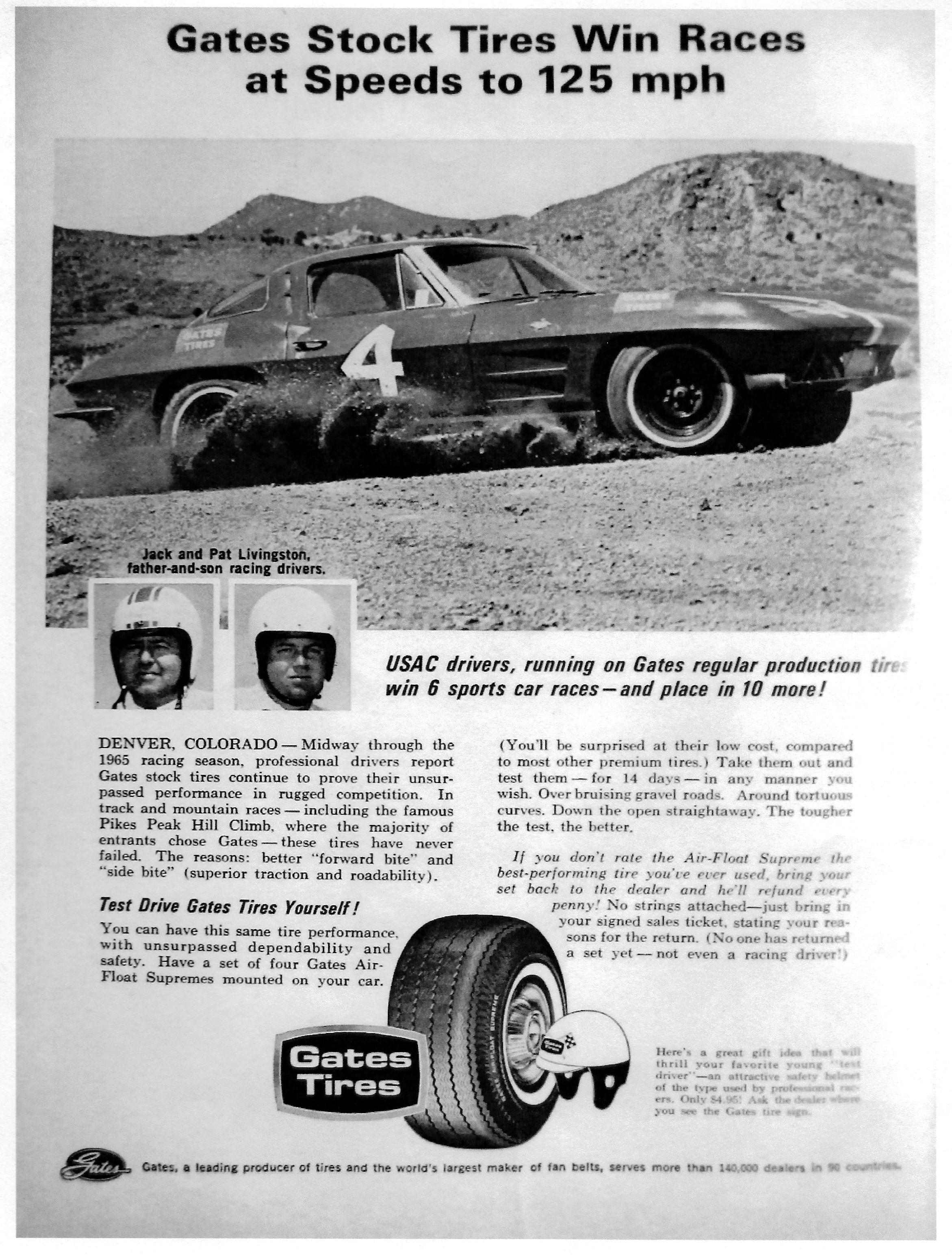 1965 Pikes Peak Hill Climb Ad With Gates Tires Pat Livingston In His Chevrolet Corvette Pikes Peak Hill Climb Hill Climb Hill Climb Racing