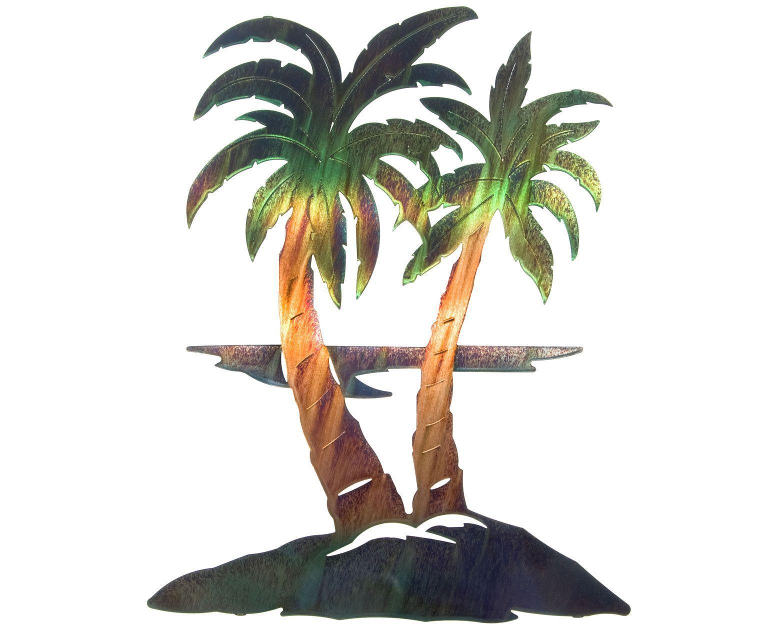 Palm Tree Breezes Metal Wall Hanging Palm Tree Metal Wall Art Metal Tree Wall Art Outdoor Wall Art