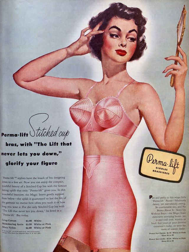 3a1e78ed9 1950s pink full color bullet bra and girdle advertisement