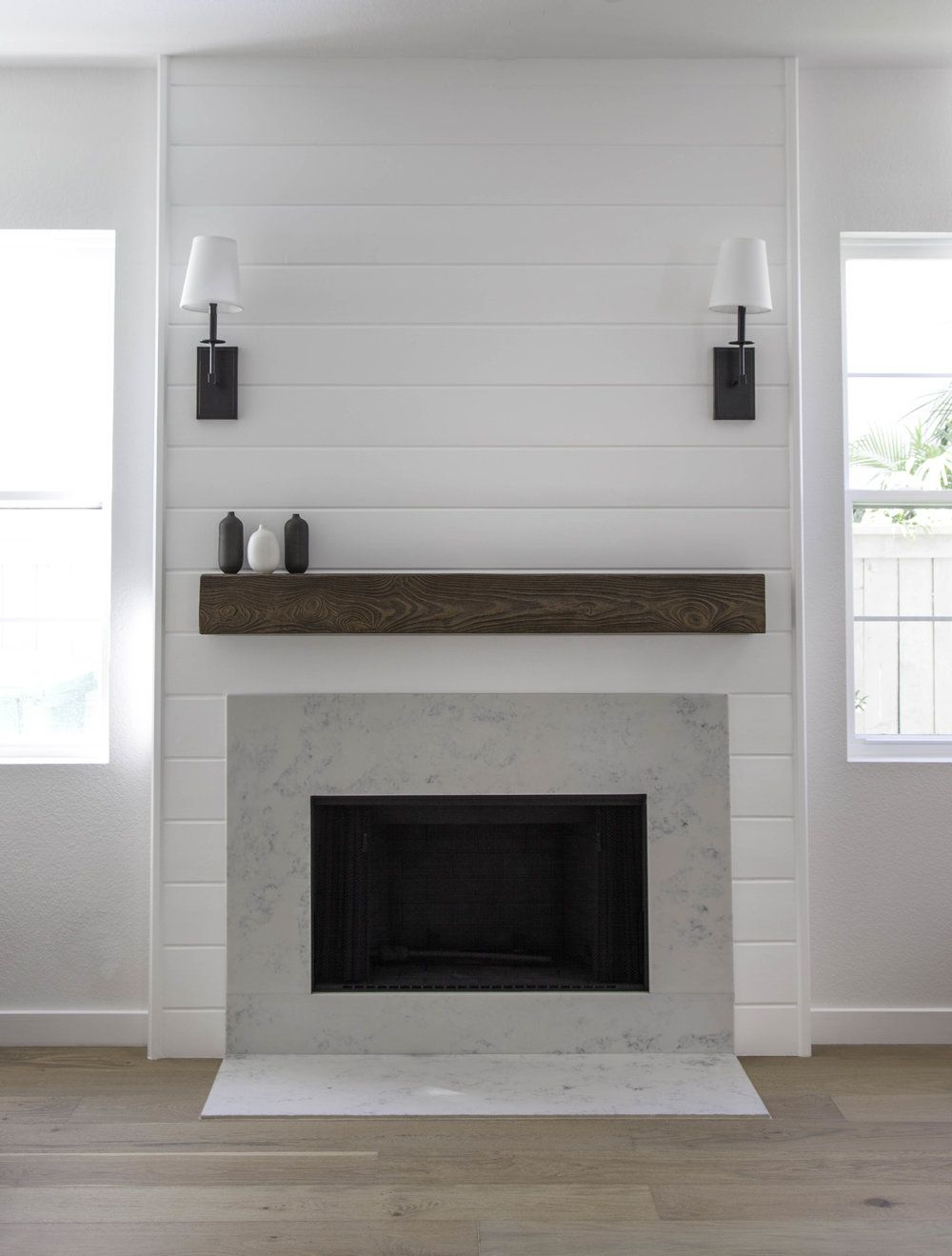 Fireplace Wall Flush Wall With Glass Tile And Metal: Shiplap Fireplace With Quartz By Studio Matsalla