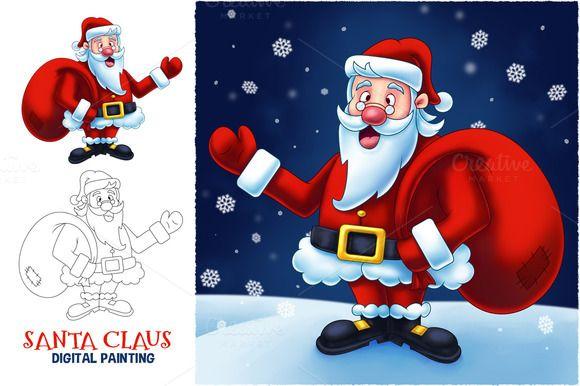 a5d274f5dd Santa Claus Cartoon Digital Painting by pixaroma on Creative Market ...