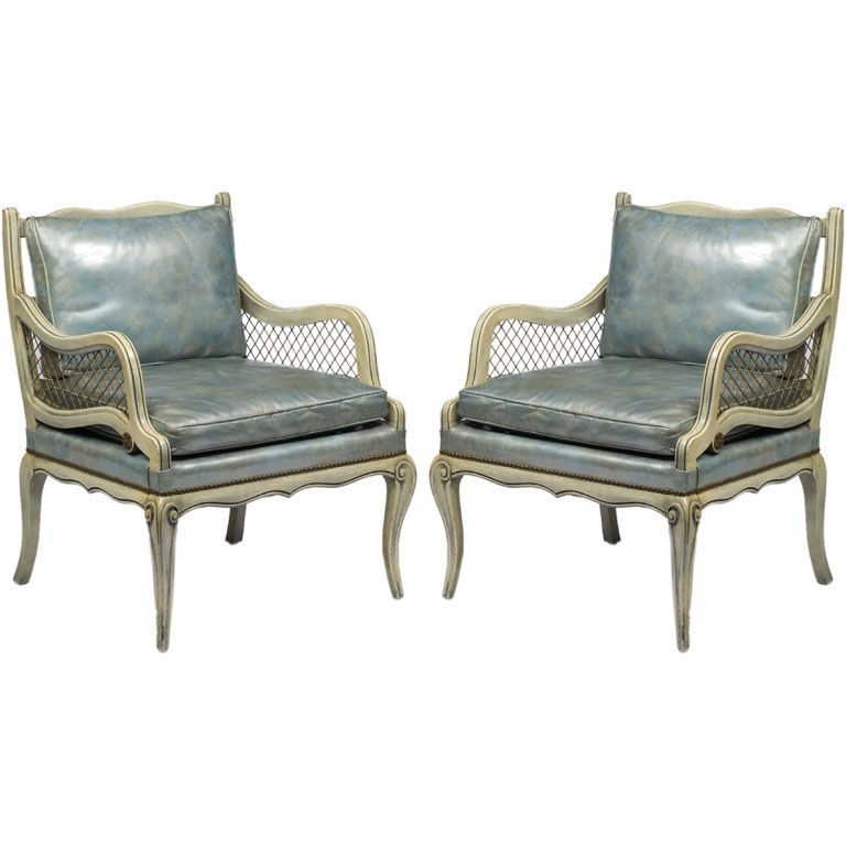 Best Pair 1940S Carved Wood Arm Chairs With Blue Leather 400 x 300
