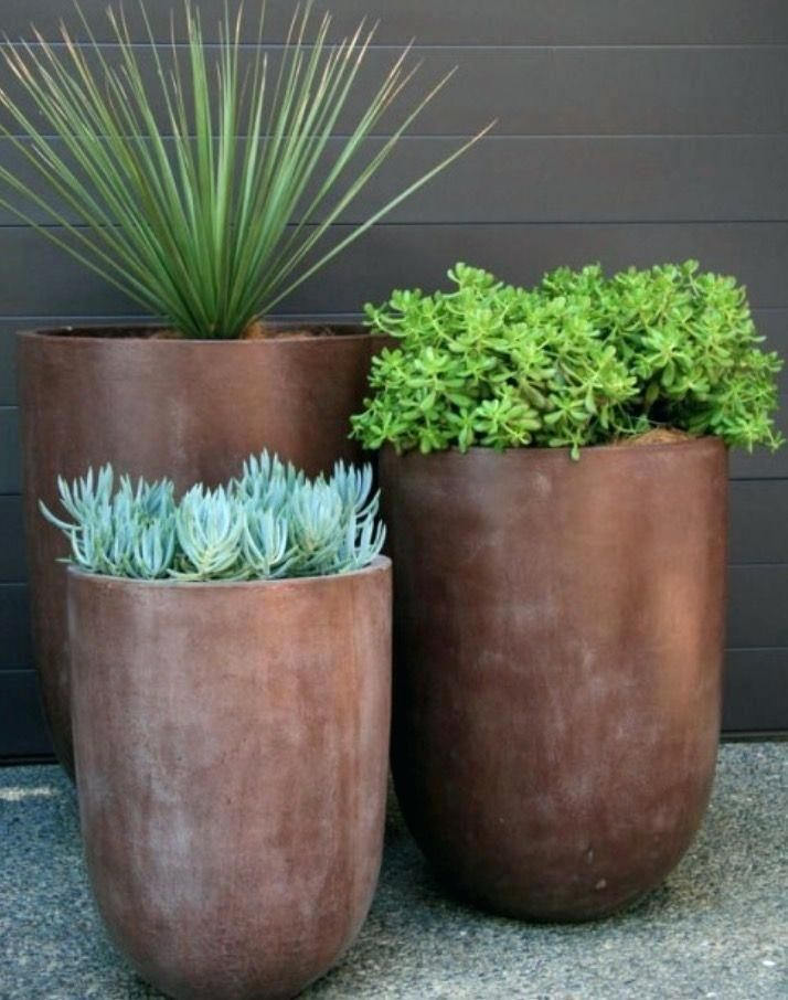 Outdoor Garden Pots Trio Of Gorgeous Tall Modern Contemporary