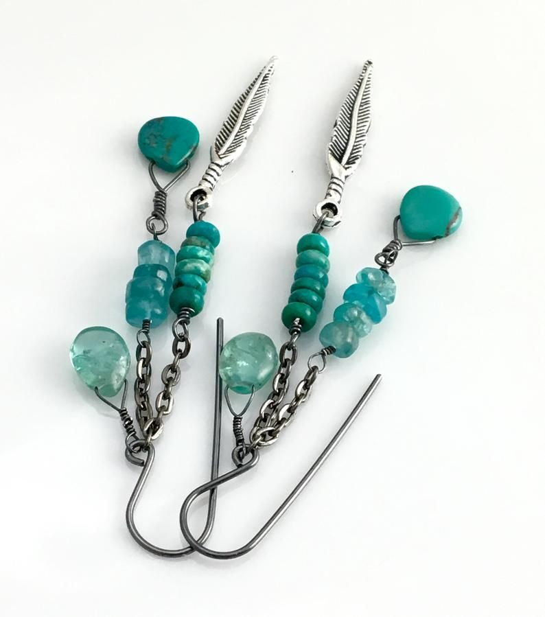 Photo of Turquoise and Apatite Long Earrings, Silver Feather and Blue Green Stone Long Hippie Dangles, Southwest Flavor, Gift for Her, Ready to Mail