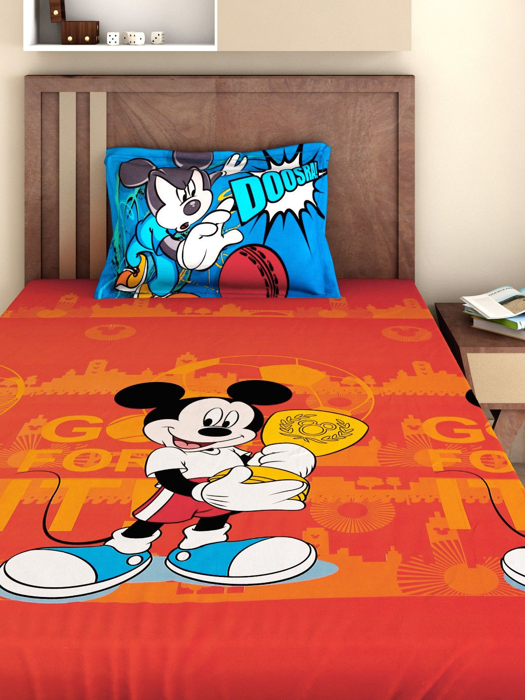Buy BOMBAY DYEING Mickey Mouse Kids Red 180 TC Cotton Single Bedsheet With 1 Pillow Cover - Bedsheets for Unisex | Myntra