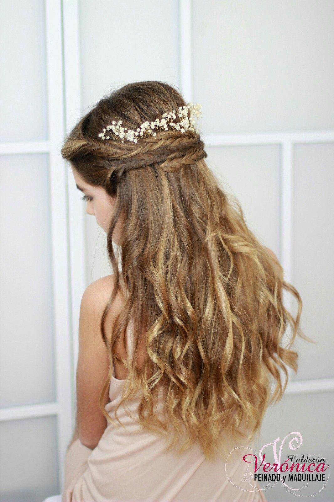 Ideas de estilo para peinados novia media melena Fotos de consejos de color de pelo - Preciosa melena de ondas duaves y detalle de trenzas de ...