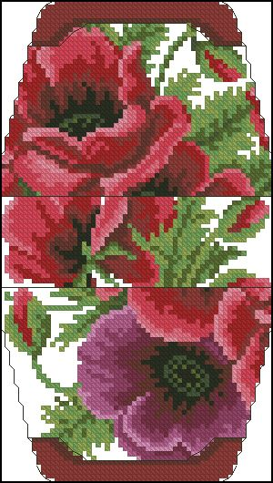 Cross-stitch Poppies purse pattern... no color chart available, just use pattern chart as your color guide.. or choose your own colors..