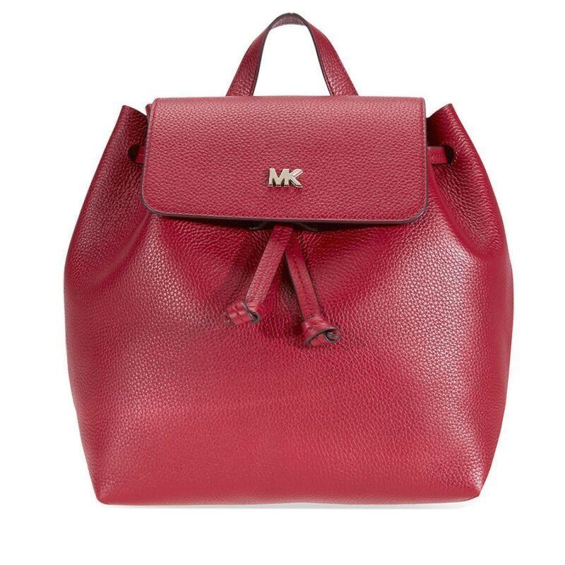 dce12cc81a6f US $93.99-Michael Kors Junie Medium Pebbled Leather Backpack - Maroon  30T8TX5B2L-550