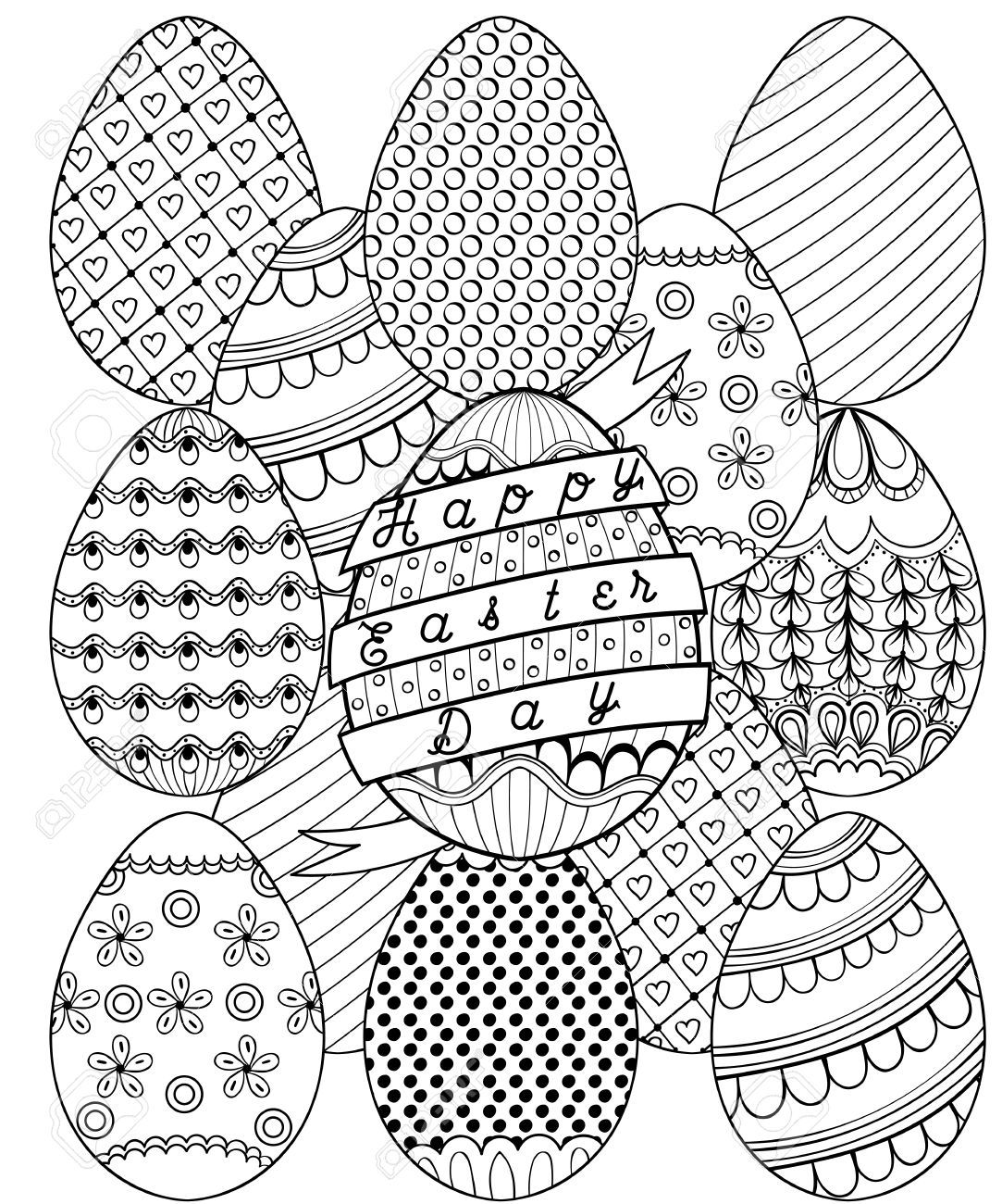 Happy Easter Day Zentangle Coloring Page Spring Coloring Pages Easter Colouring Easter Egg Coloring Pages