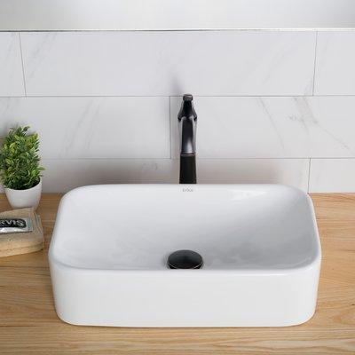 Kraus Elavo Ceramic Rectangular Vessel Bathroom Sink with Overflow