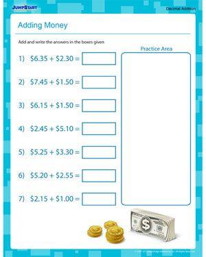 Adding Money Fun Fifth Grade Math Worksheet For Kids Adding Money Kids Math Worksheets Free Math Worksheets