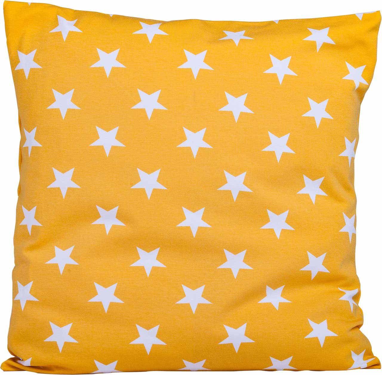 Sternenhimmel weiß/gelb - ein Traum  Stoffart: Jersey  Größe: 40cm x 40 cm