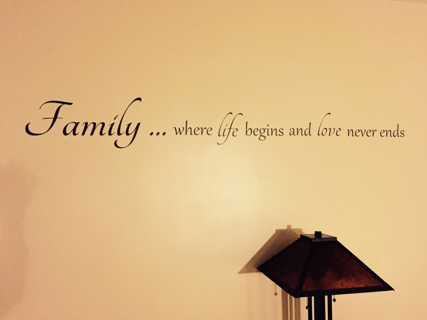 Family Wall quote, Family...where life begins and love never ends ...