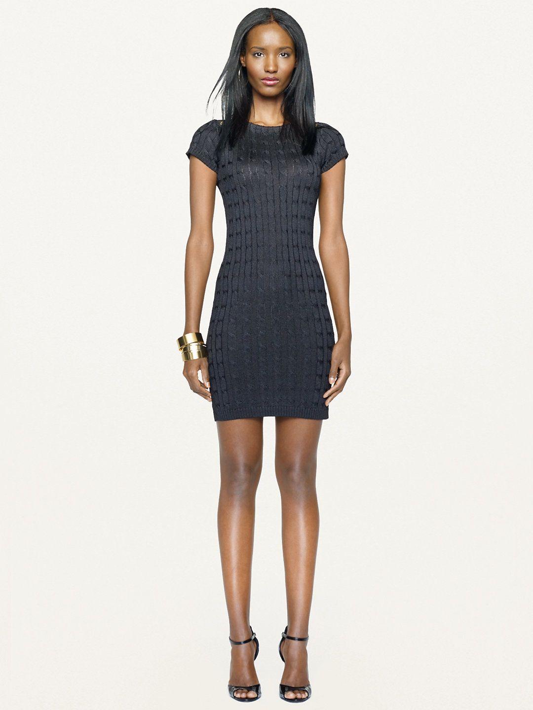 Silk Cable Knit Dress Short Dresses Dresses Ralphlauren Com Cable Knit Dress Fashion Ralph Lauren Black Label [ 1440 x 1080 Pixel ]