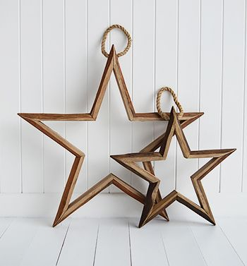 Set Of 2 Rustic Hanging Wooden Stars Large Chanel In 2019 Wooden