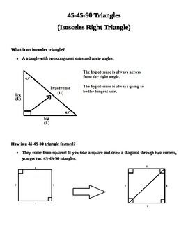 Notes On 45 45 90 Triangles Geometry Triangles Pinterest