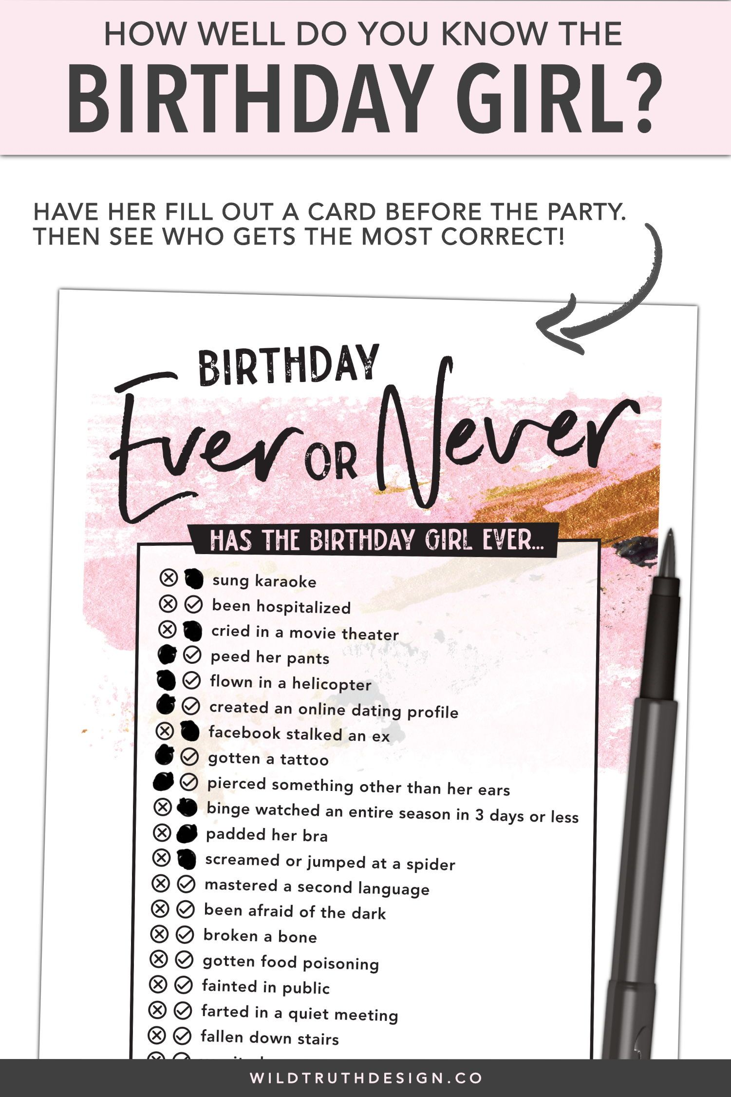 Ever Or Never Women S Birthday Party Game 106d Wild Truth Design Co Woman Birthday Party 40th Birthday Games 40th Birthday Parties