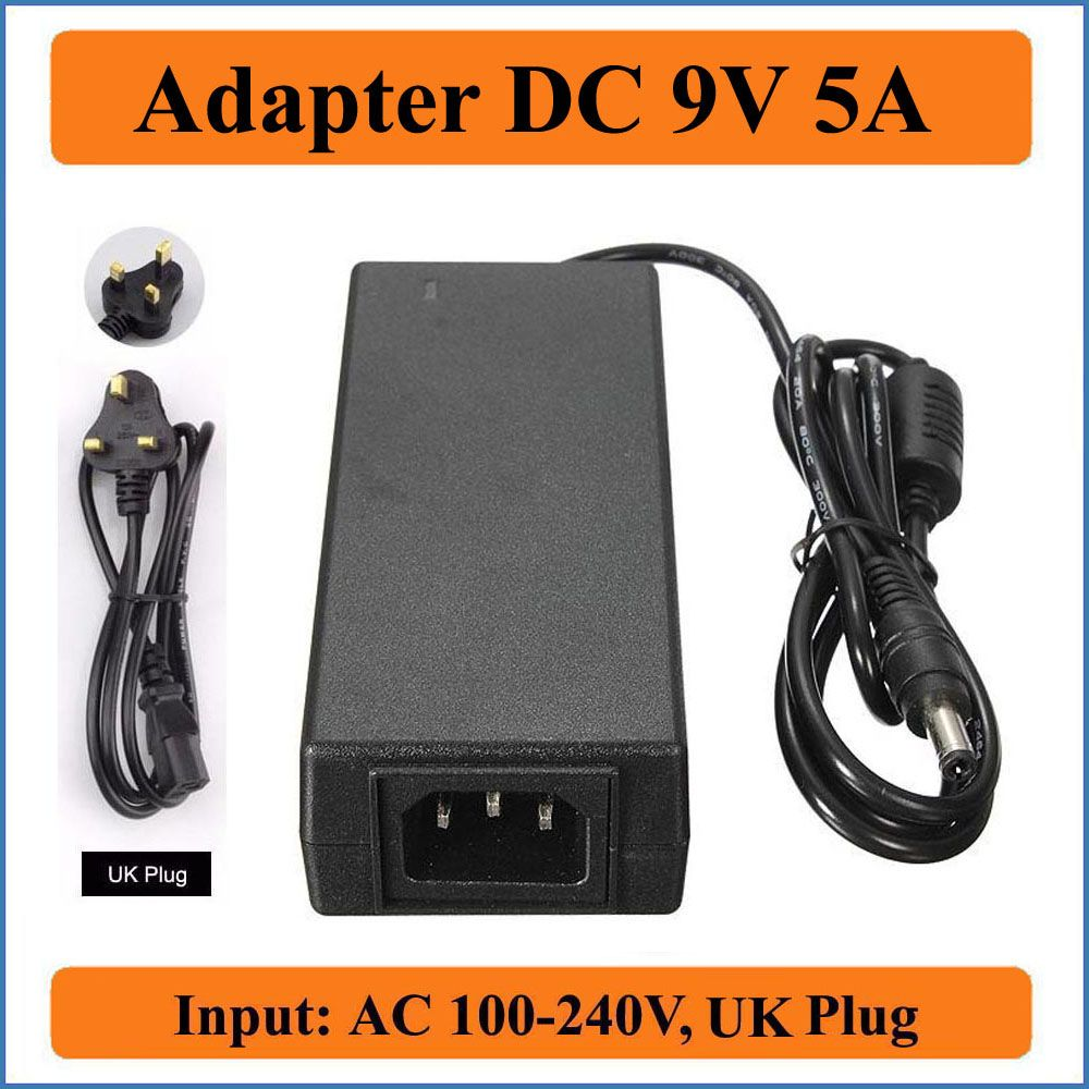 9V 5A UK Plug AC DC Adapter 1PCS High quality AC100V-240V Switching ...