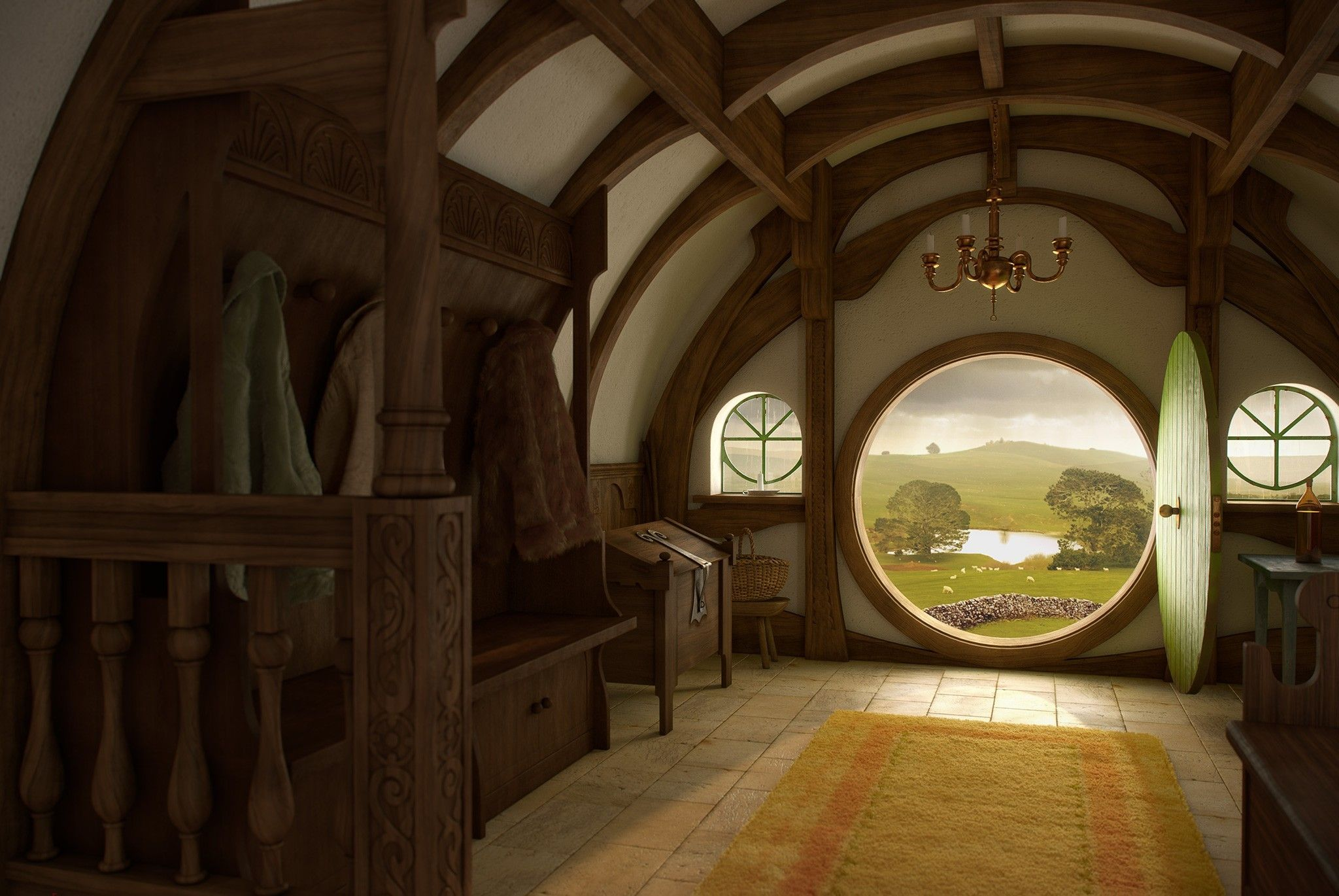 Hobbit width hole home interior door wallpaper for Porta hobbit