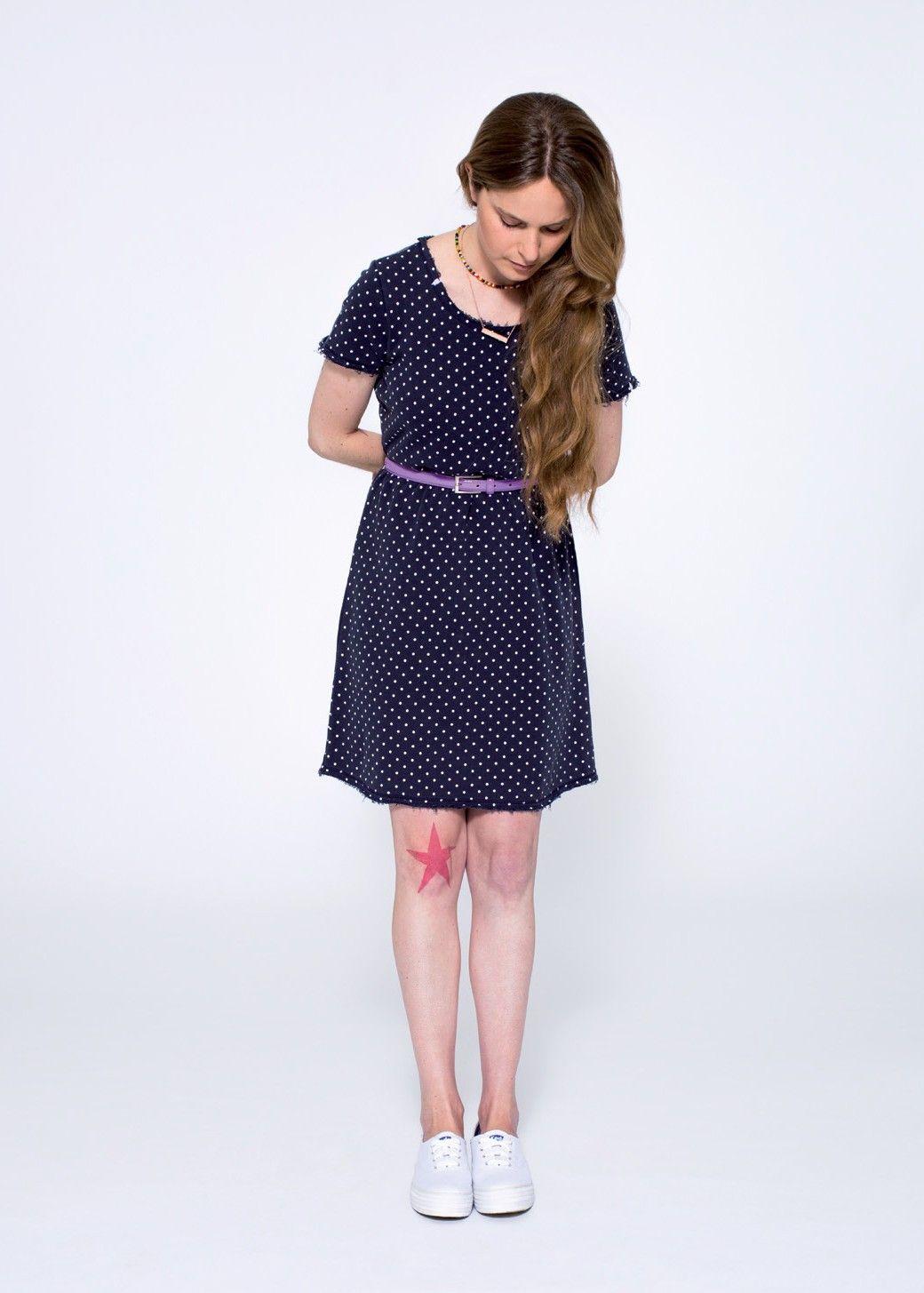 A blue dress with little polka dots, simply chic! SUN68 Woman SS15 #SUN68 #SS15 #woman #dress #polkadots