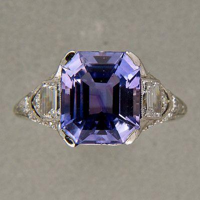 97e3a8d2b Tiffany Co Art Deco Platinum Asscher Natural Violet Blue Sapphire 5 50ct  Ring | eBay