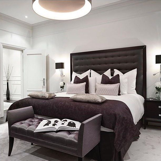 So chic! By @boscolodesign! #bedroom #chandelier #tufted #headboard #crownmolding #wainscoting #chic #homedecor #homedesign #interiordesign #realestat…