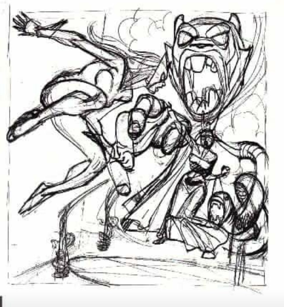 Gil's preliminary cover sketch for THE CLAWS OF THE CAT 5