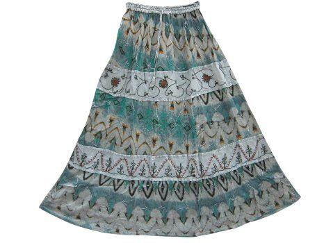 Amazon.com: Gypsy Boho Skirt Ari Embroiderd Bohemian Long Skirts (Blue Grey): Clothing