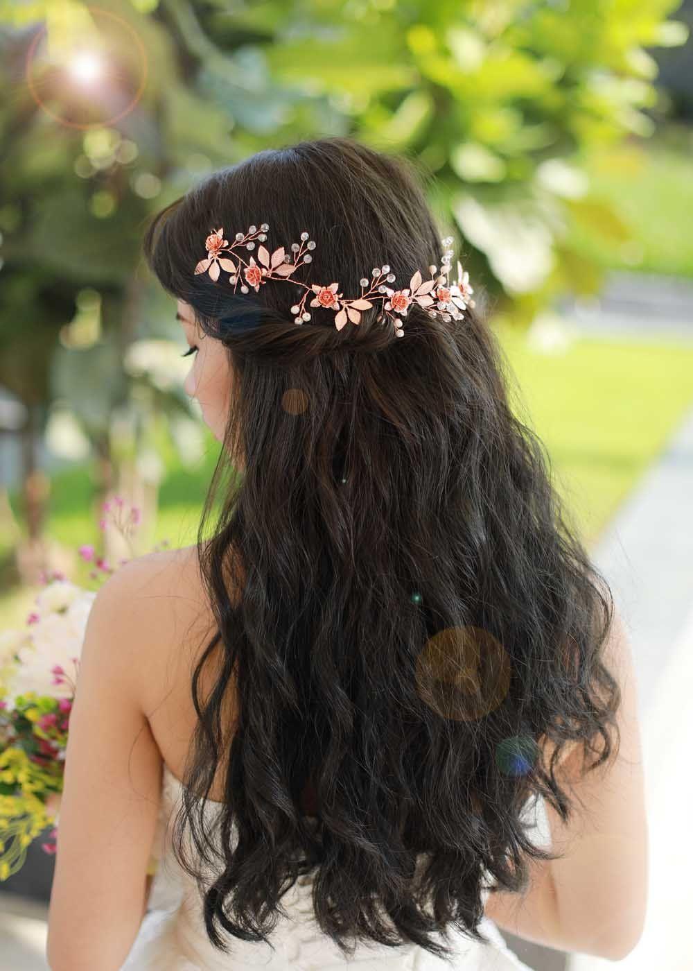 missgrace bridal fashion rose gold crystal hair vine wedding