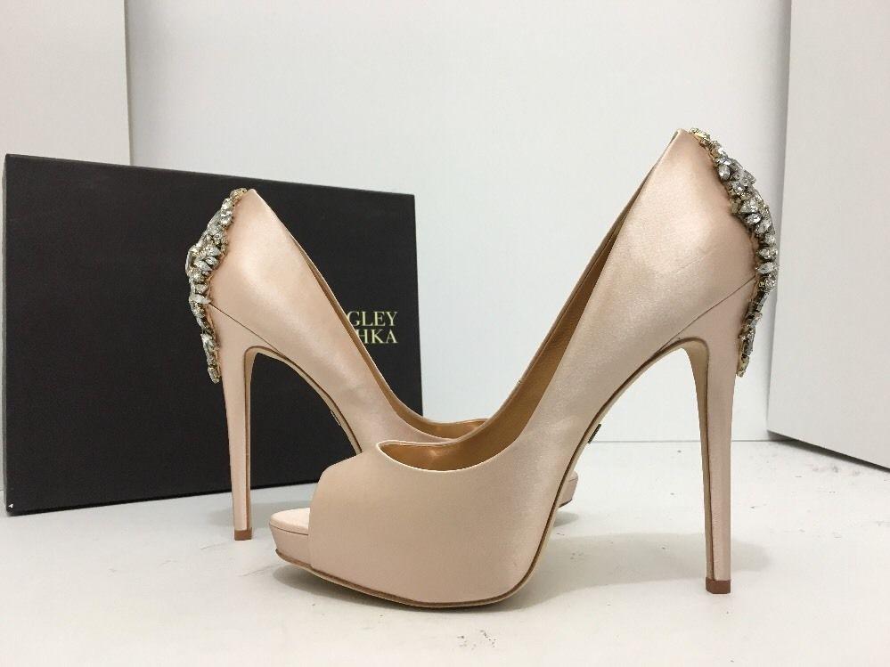 1be5ead5d4ba Badgley Mischka Kiara Pink Satin Women s Evening Platform Heels Pumps Size  8.5 M…