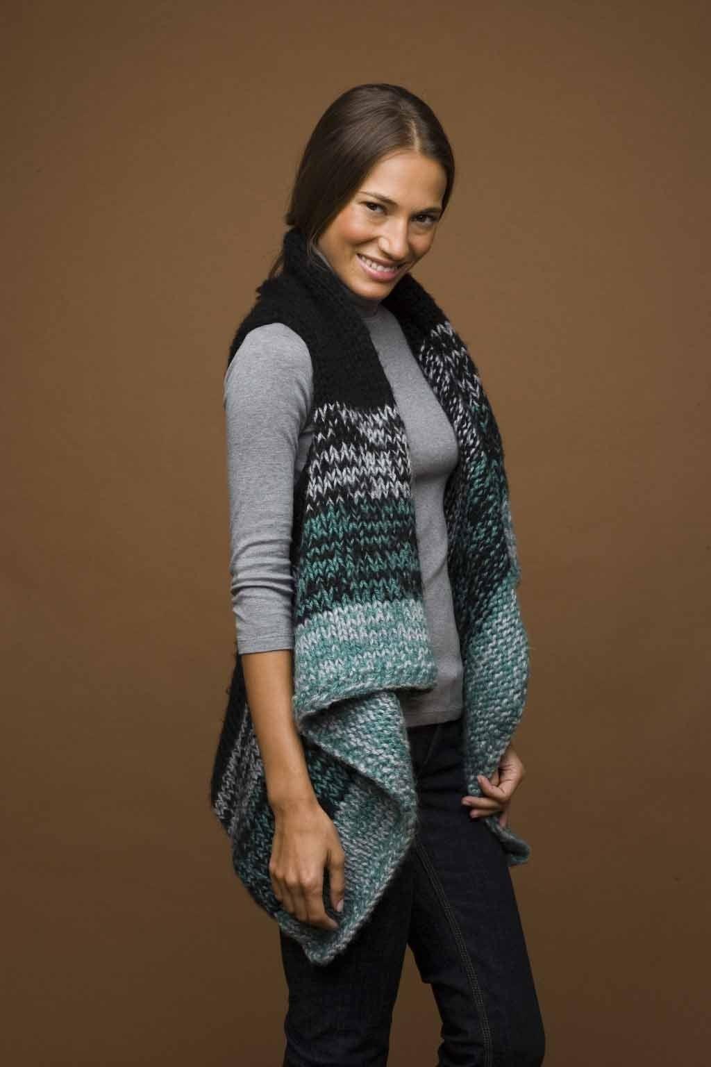 Knit Rectangle Vest Pattern - Lion Brand Yarn | Knit Vests Shrugs ...