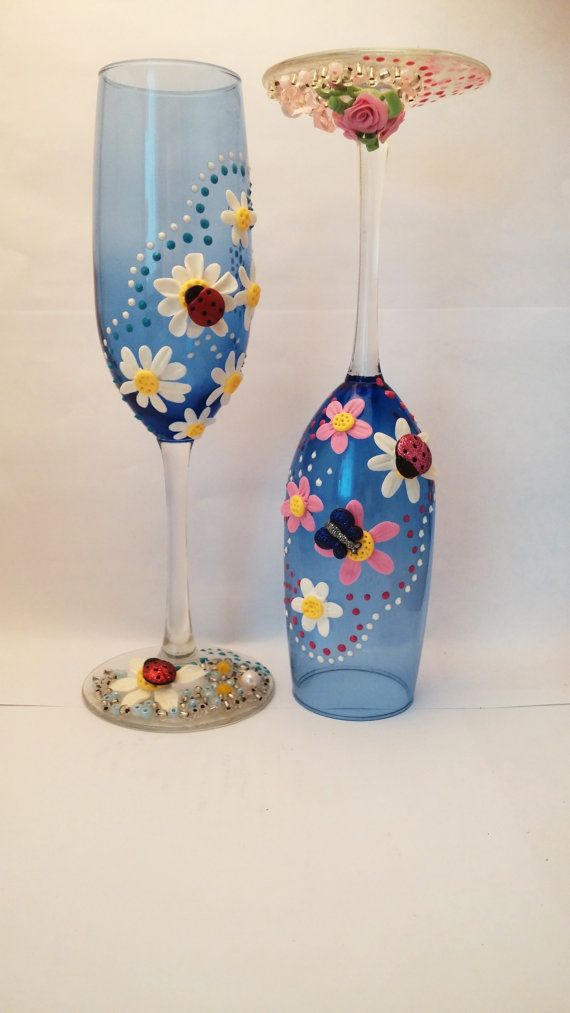 """2 Champagne flutes """"Spring Mood"""" are decorated  with the hand-made  porceline flowers, acrylic crystals,Czech beads (Free personalizaton)"""