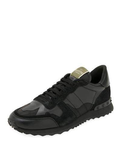 c7f59809a7884 Valentino Men's Rockrunner Camo Leather Sneakers, Black   Products ...